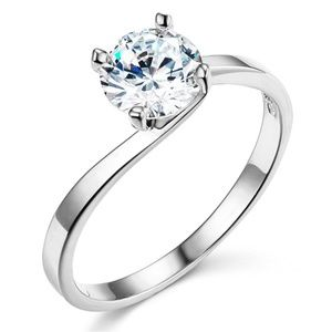 14K Bypass 1-CT Round-Cut CZ Engagement Ring
